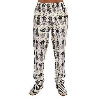 Dolce & Gabbana blanco Ananas impresión pajama pantalones - BYX1369648