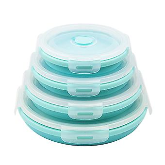 4 sets of collapsible food containers, leak-proof sealed food cans, silicone food grade round storage boxes, microwave refrigerator