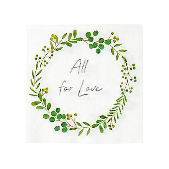 Botanical Wreath Wedding Floral Paper Party cocktail Napkins x16