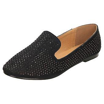 Koi Footwear Loafer Flat Shoes Black Faux Suede Diamante