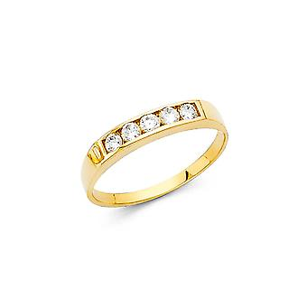 14k Yellow Gold Boys and Girls CZ Cubic Zirconia Simulated Diamond Ring Size 3 - 1.2 Grams