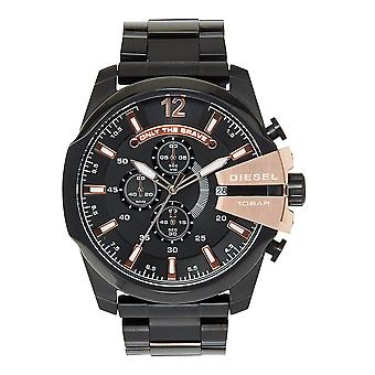 Relojes diésel Dz4309 Mega Chief Black Ip & Rose Gold Chronograph Men's Watch