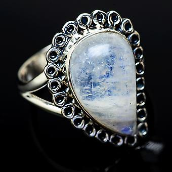 Rainbow Moonstone Ring Size 9 (925 Sterling Silver)  - Handmade Boho Vintage Jewelry RING11802