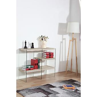 Libra 1 Wood Color console, Transparent in MDF, Glass 100x39.5x85 cm
