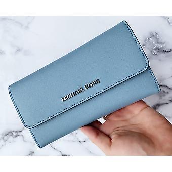 Michael kors jet set suuri kolmiosainen lompakko saffiano nahka jauhe sininen