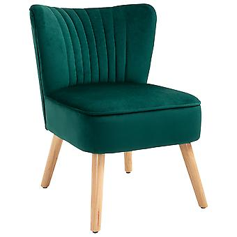 HOMCOM Luxe Velvet-Feel Accent Chair Tub Seat Padding Curved Back w/ Wood Frame Legs Armless Comfort Seat Bedroom Dressing Living Room Home Furniture Emerald Green
