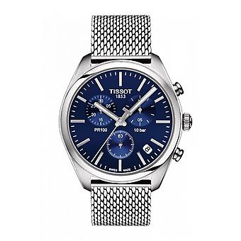 Tissot Watches T101.417.11.041.00 Pr100 Silver Stainless Steel And Blue Mesh Chronograph Men's Watch