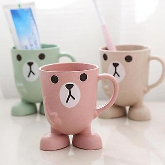 Cartoon Animal Wheat Straw Toothbrush Cup Holder For Bathroom Home Office Outdoors And Travel