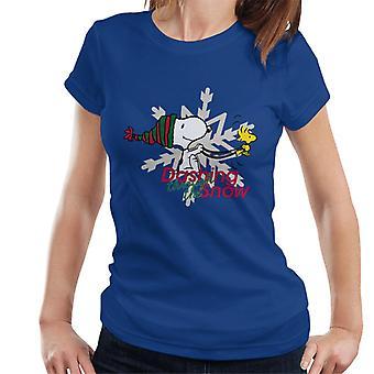 Erdnüsse Snoopy und Woodstock Dashing durch den Schnee Frauen's T-Shirt