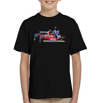 Motorsport Images Niki Lauda 312T2 Mechanic Lift Kid's T-Shirt
