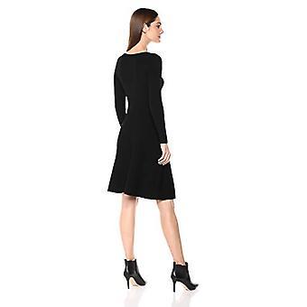 Marca - Lark & Ro Women's manga larga acanalado crewneck ajuste y bengala suéter vestido, negro, grande