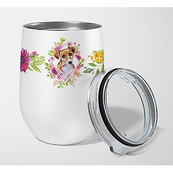 Jack Russell Terrieri #1 vaaleanpunaiset kukat ruostumaton teräs 12 oz stemless viinilasi
