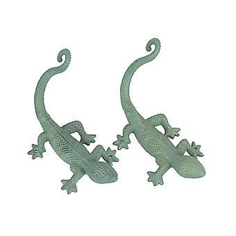 Sarja 2 Verdigris vihreä viimeistely valurauta gecko lisko seinäkiinnitys kasvi ripustin suluissa