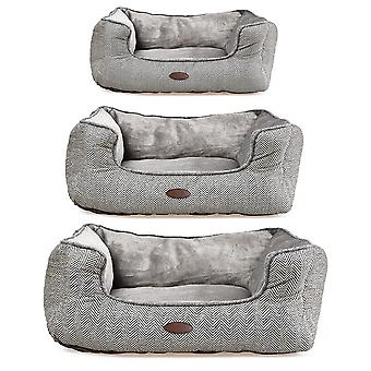 Charles Bentley Plush Soft Furry Washable Dog Cat Pet Bed with Anti-Skid Base - Fully Assembled in Grey - S M L
