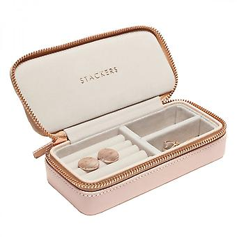 Stackers Blush Faux Leather Medium Travel Jewellery Box