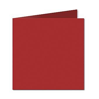 Chili röd. 123mm x 246mm. Liten Kvadrat. 235gsm Vikta Kort Tomt.