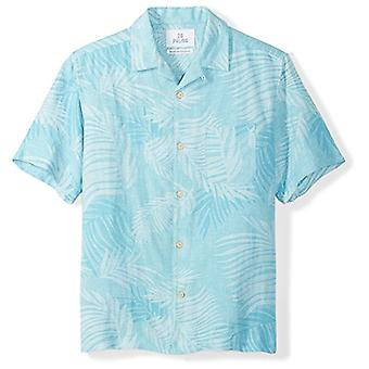 28 Palms Men-apos;s Relaxed-Fit Silk/Linen Tropical Leaves Jacquard Shirt, Blue To...