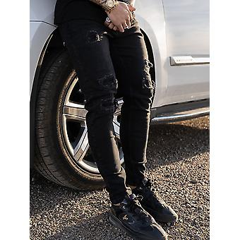 Nimes Ripped Skinny Jeans - Black