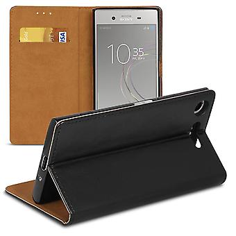Book case with card compartment for Sony Xperia XZ1 Compact Wallet TPU Microfiber Black