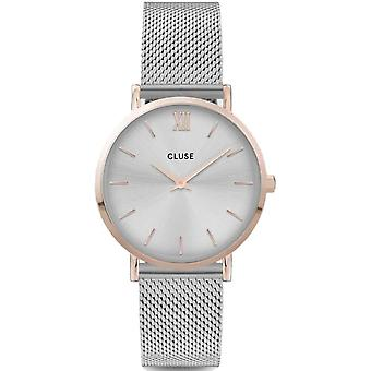Cluse Watches Cw0101203004 Minuit Rose Gold & Silver Mesh Ladies Watch