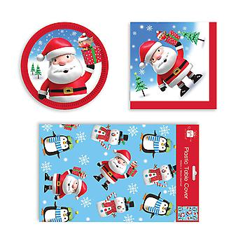 Childrens Christmas Penguin Santa Disposable Party Set Various