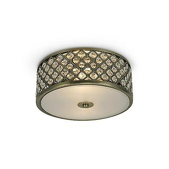 Inspireret Deco - Sasha - 2 Light E14, Flush Loft Light, 300mm Runde, Antik Messing med krystalglas og opal glas diffuser