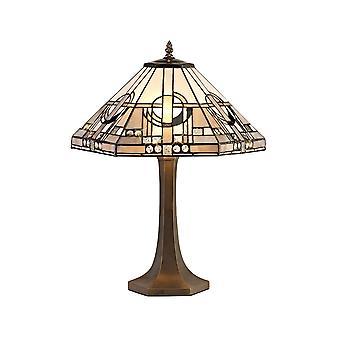 2 Lampada da tavolo ottagonale leggera E27 con 40cm Tiffany Shade, Bianco, Grigio, Nero, Cristallo Chiaro, Ottone Antico Invecchiato