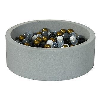 Poço de bola 90 cm com 300 bolas pretas, brancas, transparentes, douradas e cinza
