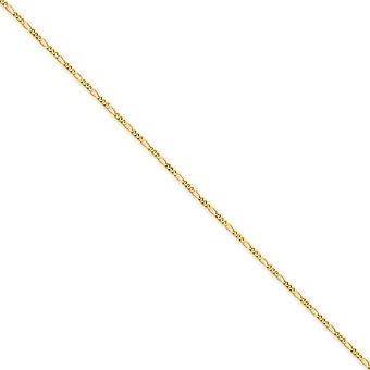 14k Solid Polished Gold 1.25mm Flat Figaro Chain Bracelet 7 Inch Spring Ring Jewelry Gifts for Women