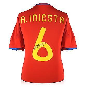 אנדרס אינייסטה חתם 2009-10 חולצת בית ספרד