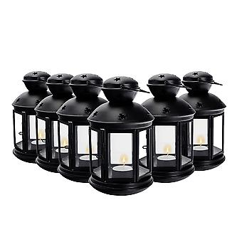 Nicola Spring Candle Lanterns Tealight Holders Metal Hanging Indoor Outdoor - 20cm - Black - Set 6