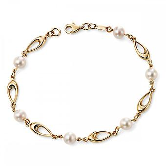 Elements Gold Elements 9ct Yellow Gold Link Bracelet With White Freshwater Pearls GB416W