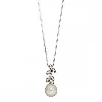 Joshua James Precious 9ct vitt guld med Pearl & Diamond Leaf Hänge