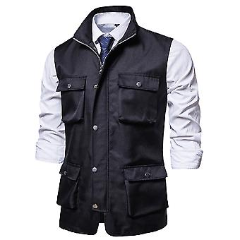 YANGFAN Men's Multi-Pocket Tooling Vest Solid Color Stand-Up Collar Waistcoat