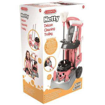 Casdon Hetty Deluxe Cleaning Trolley Set Pretend Cleaning Play Set Pink