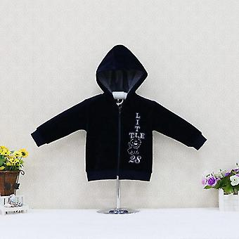 Baby Hooded Velour Long Sleeve Blouse Coat With Embroidery
