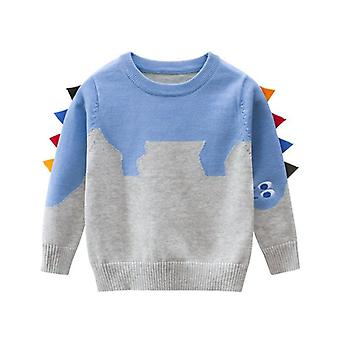 Dinosaur Pattern Boys Sweater For Casual Spring Warm Cotton Pullovers
