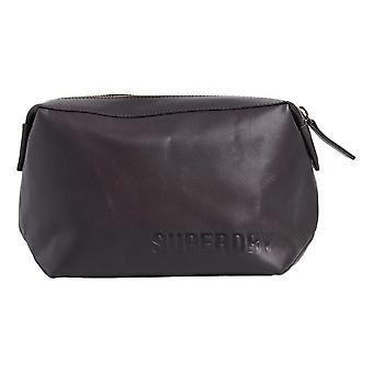 Superdry Vermont Leather Washbag - Brun foncé