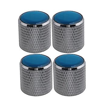 4X Silver Domed Volume Tone Control Steel Knob Electric Guitar Bass w/ Blue Top