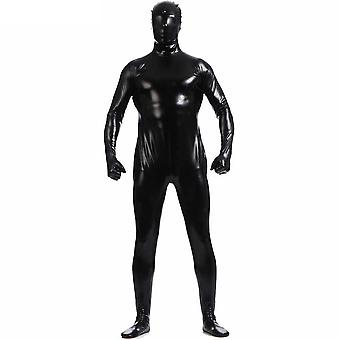 AltSkin Adult/Kids Full Body Stretch Fabric Zentai Suit - Zippered Back One Piece Stretch Suit Costume - Metallic Black