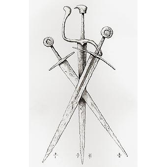 13. oder 14. Jahrhundert überqueren Schwerter links und rechts Schwerter mit flachen Rad - Knauf Zentrum kurze Backsword oder Coutel mit Fingerschutz aus der britischen Armee seinen Ursprung Fortschritt und Ausrüstung