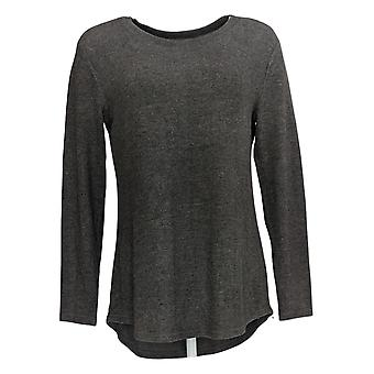 Lisa Rinna Collection Women's Top Hacci Knit Curved Hem Gray A341720