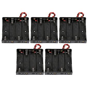 5pcs Black Battery Holder Boxs Container Two Wire Four Batteries Plastic