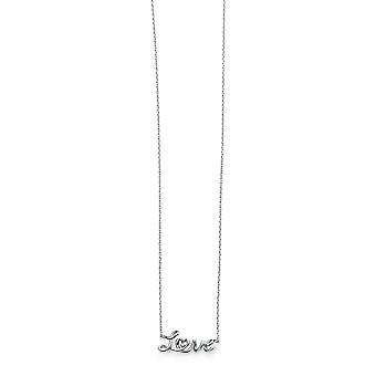 Elements Silver Ladies Rhodium Plaqué Rhodium Plaqué Love Necklace of Length 42-45cm