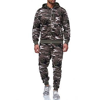 Mäns träningsoverall kamouflage ställ Hoodie Zip träningsoverall byxor Fitnesssuit Sport