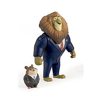 Tomy Zootropolis Mayor Lionheart + Lemming Figures