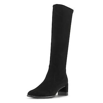 Peter Kaiser Lesly Pull On Stretch Knee High Boots In Black Suede
