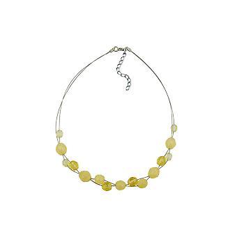 Kaulakoru keltainen lasi helmiä päällystetty joustava lanka