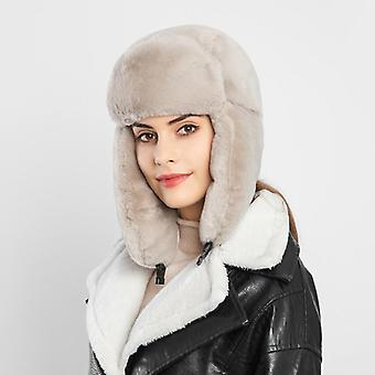Warm Earmuffs Thicken Ear-flapped Hat And Faux Fur Lei Feng Cap Winter Faux Fur