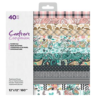 Crafter's Companion Traditional Florals 12x12 Inch Paper Pad